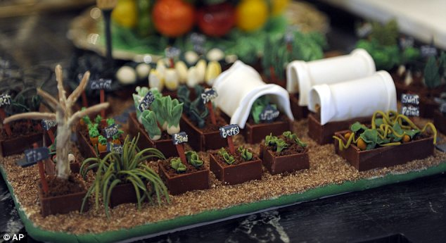 One of your five-a-day? The structure even features a marzipan version of Michelle's kitchen garden