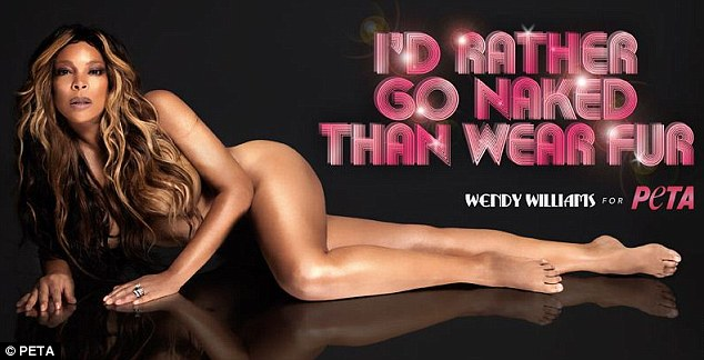 In the buff: Talk show host Wendy Williams has stripped off for PETA's famous 'I'd Rather Go Naked Than Wear Fur' campaign
