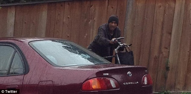 Suspect: Miss Yu identified this man, Andy Anduha, 51, as the thief who tried to steal her decoy package