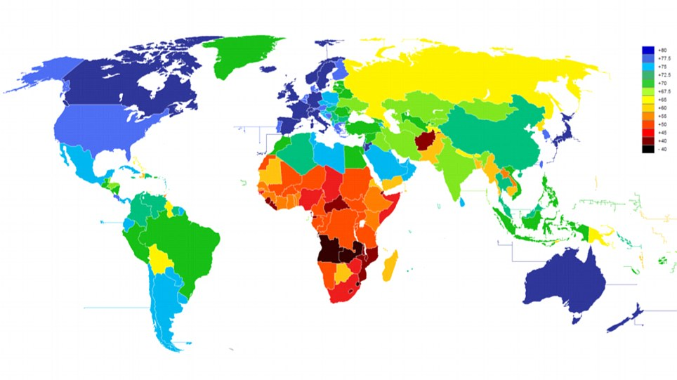 How long will you live? This colour coded map shows the average life expectancy in 188 of the world's nations