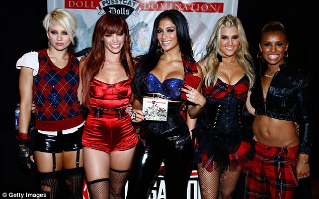 Don't speak! Ashley with her former Pussycat Dolls bandmates (L-R) Kimberly Wyatt, Jessica Sutta, Nicole Scherzinger and Melody Thornton
