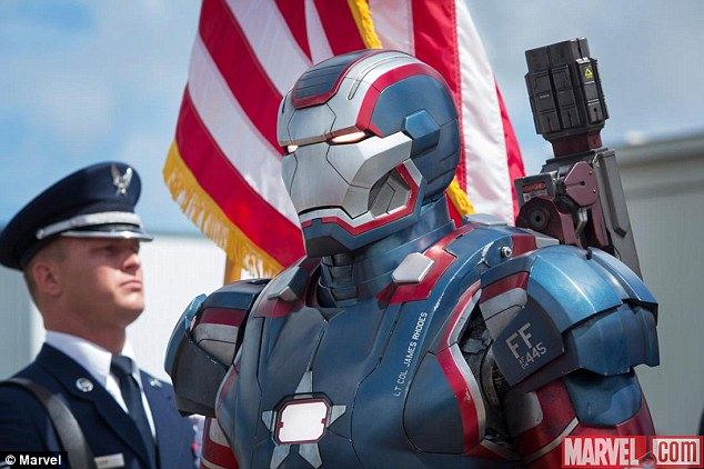 Lift off: The all new Iron Patriot armour features art work and colours similar to Captain America