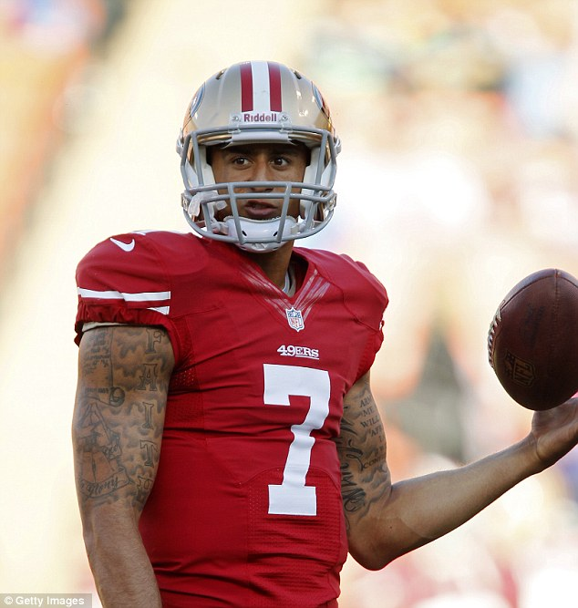Role Model: Quarterback Colin Kaepernick of the San Francisco 49ers warms up before a game against the Seattle Seahawks in October