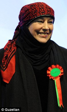 Hijab: Respect candidate Yvonne Ridley after the declaration at the Rotherham by-election count