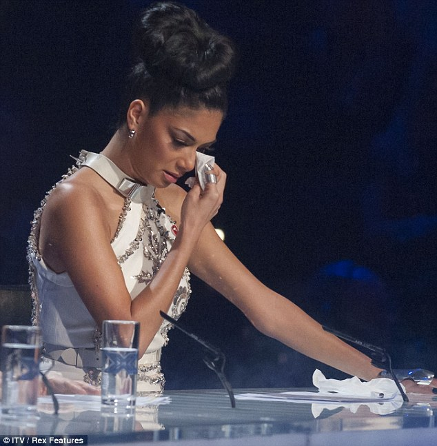 Moved to tears: Nicole became emotional during the show after watching her contestant Jahmene Douglas perform
