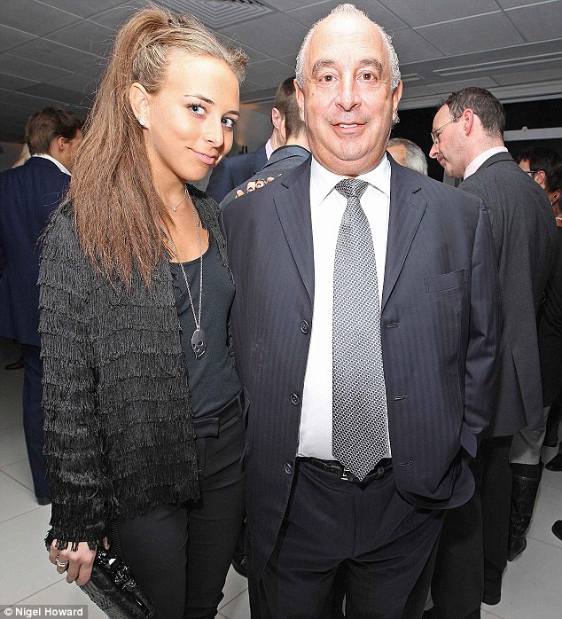 Close: Chloe and dad Philip Green, she has designed a label for Topshop