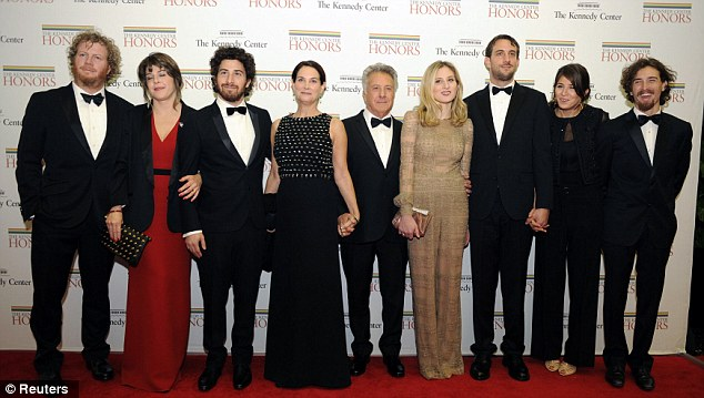 Among the Honorees: Dustin Hoffman is one of the seven talents up for the prestigious Kennedy Centre Honor. Pictured with wife Lisa and assorted members of his family