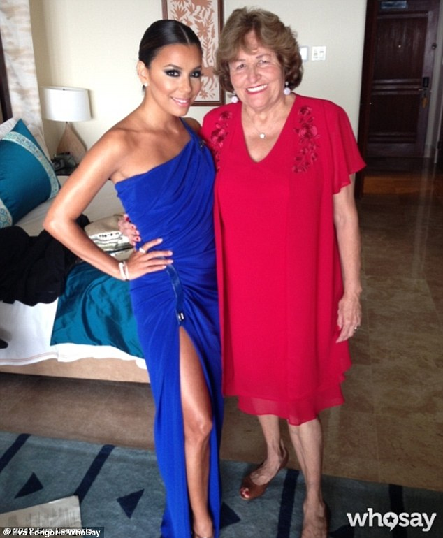 Getting ready: Eva Longoria and her mother take a snapshot before the ceremony