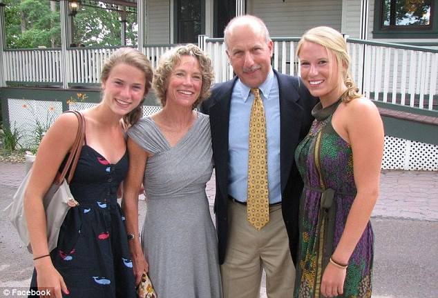 Tragic: Casey Schulman, right, is seen with her family at her home in Falls Church, Virginia