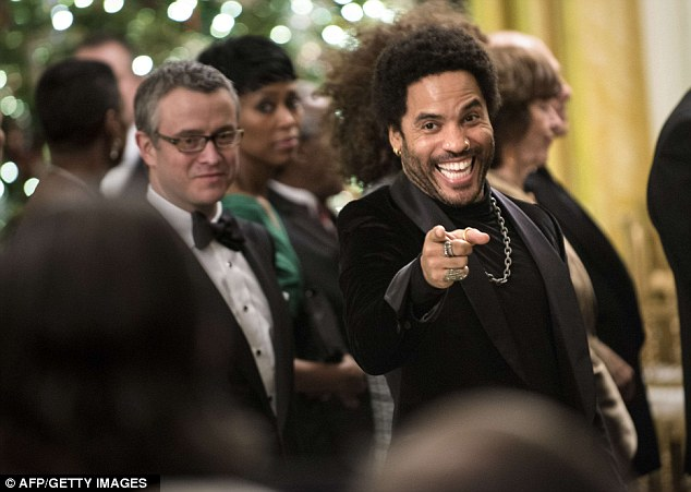 Famous faces: Musician Lenny Kravitz was also at the East Room reception at the White House