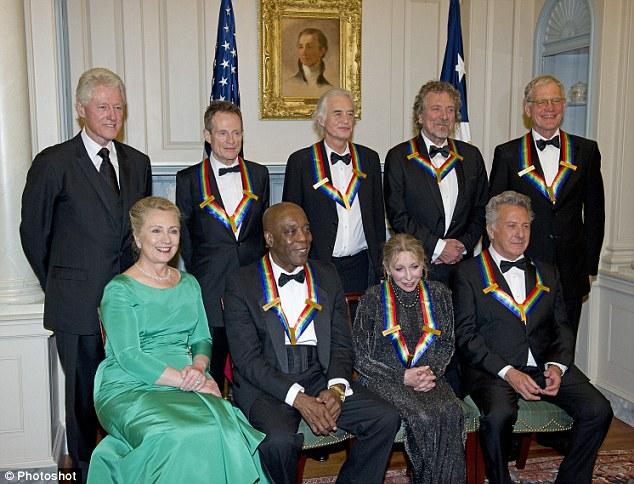 Polished: The seven recipients of the 2012 Kennedy Center Honors attended a dinner with Bill and Hillary Clinton, left, Saturday evening ahead of Sunday's ceremony