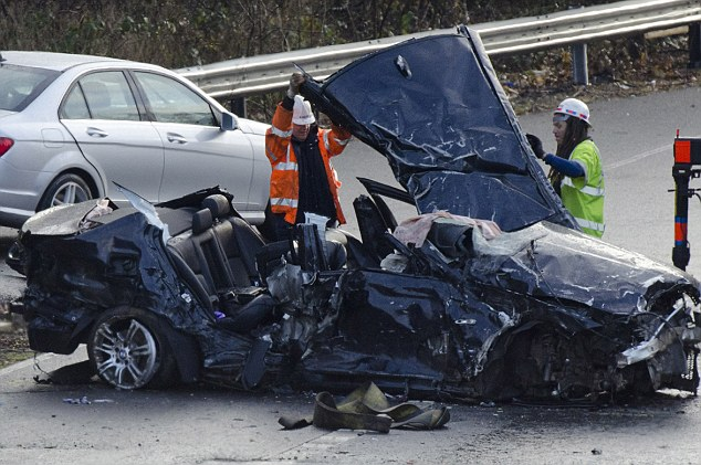 Witnesses claim BMWs were racing at high speed before death smash.Two black BMW cars crashed in the early hours of yesterday morning on the southbound carriageway of the M1