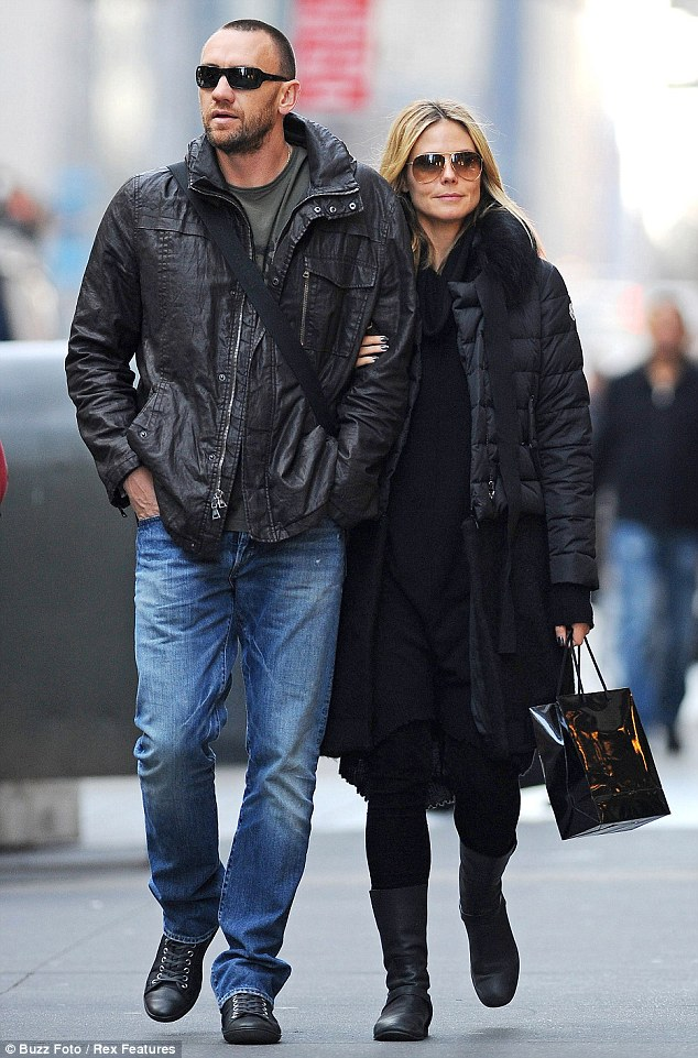 Living the high life: Heidi Klum and her bodyguard boyfriend Martin Kristen went for lunch at Nobu and shopping at Prada on Monday