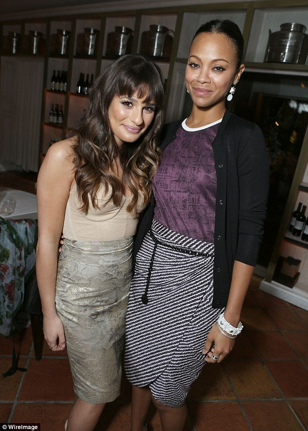 Blending right in with the cool kids: Lea Michele was spotted catching up with her celebrity friends, including Zoe Saldana, at a Hollywood dinner party on Tuesday