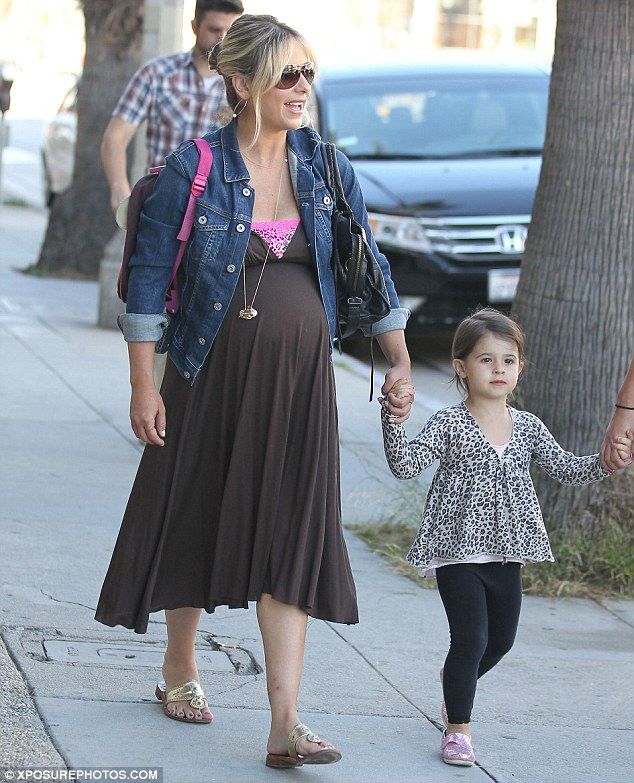Just months ago: Sarah welcomed her second child with her husband Freddie Prinze Jr in September