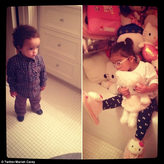Adorable: Mariah tweeted this super-cute snap of her twins, Moroccan and Monroe