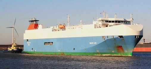 Collision: Four members of the crew of the Baltic Ace have died after the vessel collided with a container ship in the North Sea. A further seven are still missing (file picture)