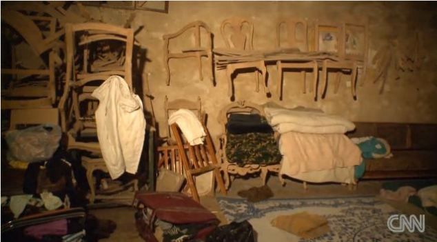 The cellar was a workshop and items of furniture are still hanging on the wall