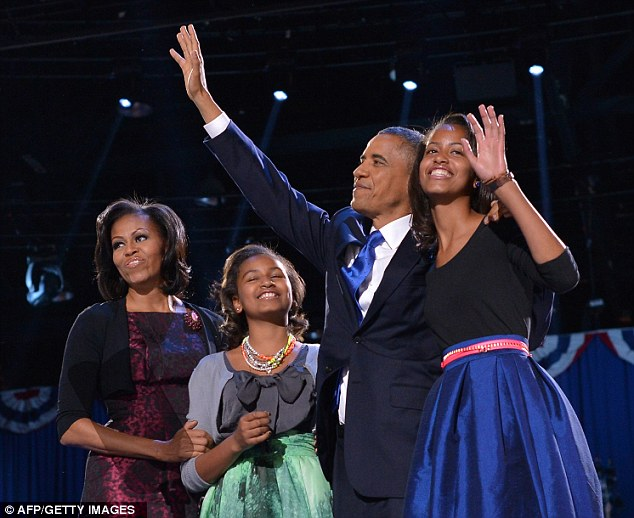 US President Barack Obama celebrates with his daughters Sasha (2nd L) and Malia (R) and US First Lady Michelle Obama in Chicago on November 7, 2012