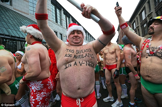 On Prancers And Vixens Speedo Santa Run Fills Bostons