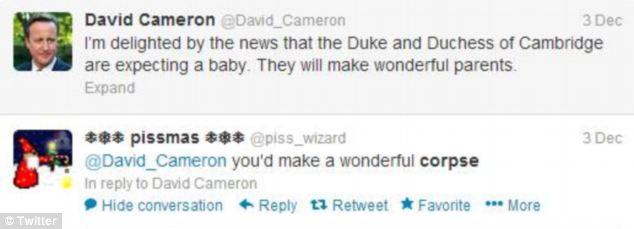 News of a royal baby was not enough to stop one of the PM's trolls from wishing he was dead