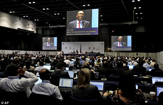 A controversial proposal for a new treaty which would give countries more powers to block websites and monitor emails has been put forward by a group of Arab states at a global conference in Dubai (above)