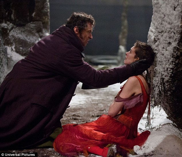 Singing their praises: Jackman garnered a nod for Actor and Hathaway, who was put through the ringer as Fantine, earned a nomination for Supporting Actress