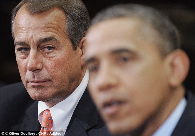 Deadlock: President Obama and Speaker John Boehner are blaming each other for the impasse as the country heads towards the 'fiscal cliff'