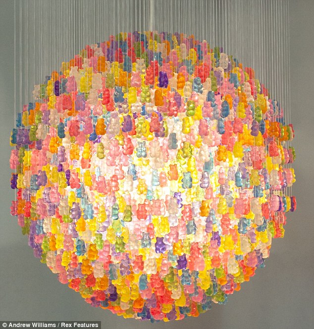 Light snack: A chandelier made from over 8500 gummiy bears has been created by artist Kevin Champeney