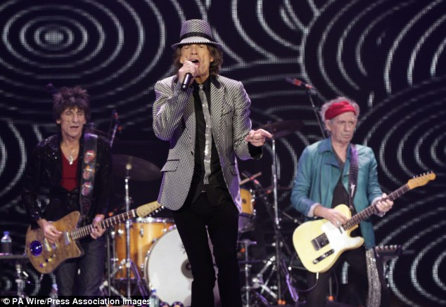 Not approved: Mick Jagger, on stage with the Rolling Stones at the O2 in London, is said to have told Ms Hunt to keep the letters private