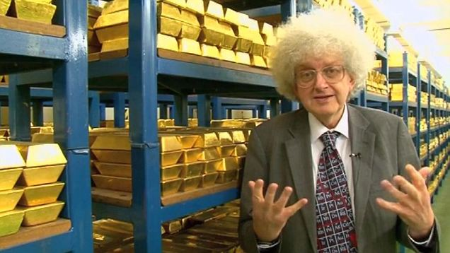 Bullion worth billions: Professor Martyn Poliakoff from the University of Nottingham gives a guided tour of gold bars worth £197 billion in the Bank of England vaults
