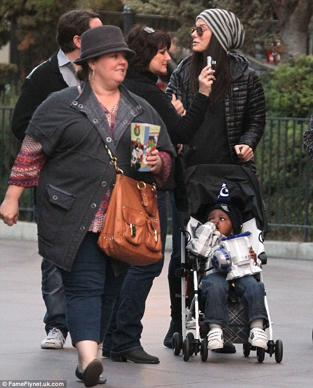 New BFF's: Sandra Bullock, Melissa McCarthy and Ben Falcone enjoy a day at Disneyland as they show baby Louis around