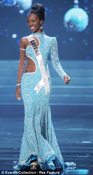 Miss Guyana took to the polished catwalk in a high-necked pastel blue dress featuring a gentle fishtail hem