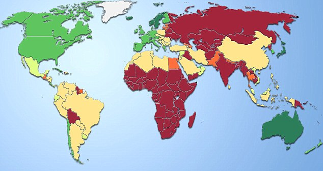 The map here shows the average life expectancy for men in 2009. Dark green represents an average life expectancy of 78-82, while at the other end of the scale, dark red represents an average life expectancy of less than 66 years
