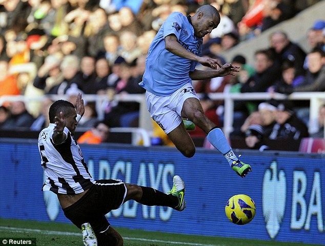 Unlucky: Newcastle United were defeated 3-1 by Roberto Mancini's boys Manchester City