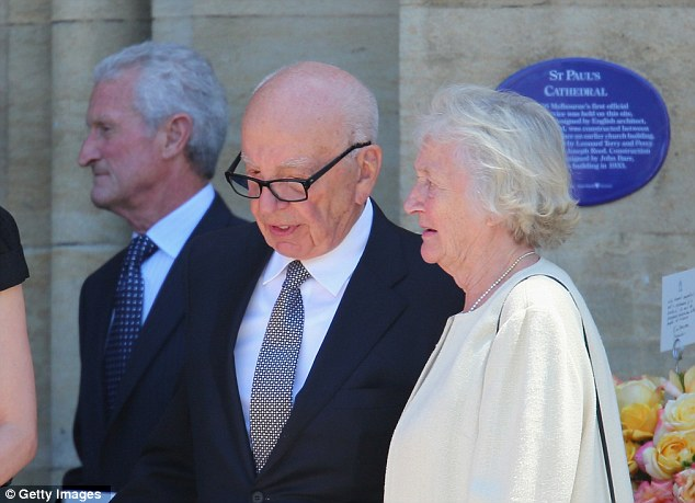 Close family: Rupert Murdoch talks with his sister Janet Calvert-Jones