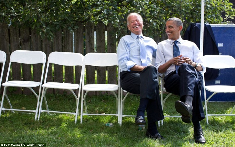 President Obama and Vice President Biden share a laugh before an event at Strawbery Banke Museum in Portsmouth, New Hampshire on September 7