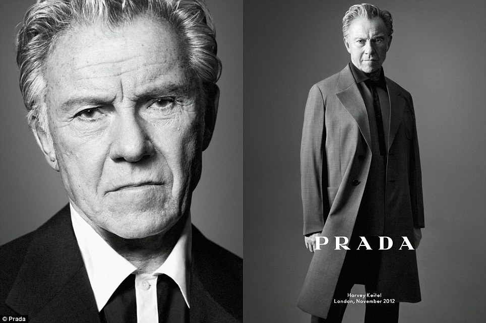 Mr White: Quentin Tarantino favourite Harvey Keitel features in the new campaign wearing the brand's lightweight coats and shirts