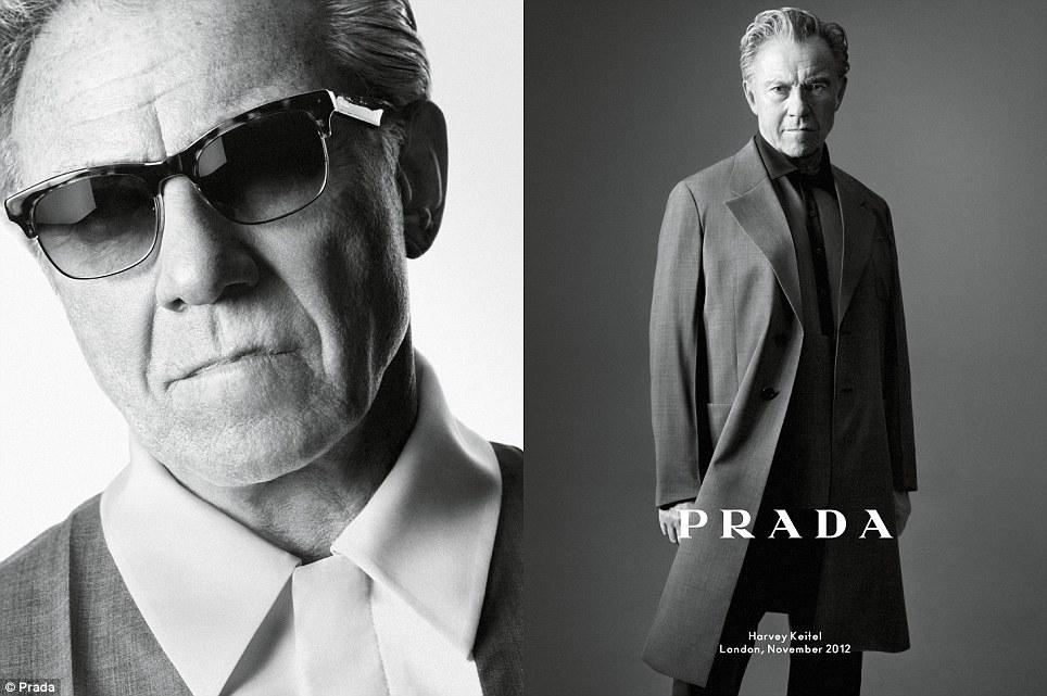 Leading men: Harvey Keitel, pictured, fronts the new Prada menswear campaign alongside Benicio Del Toro, Aaron Taylor-Johnson and Dane DeHaan