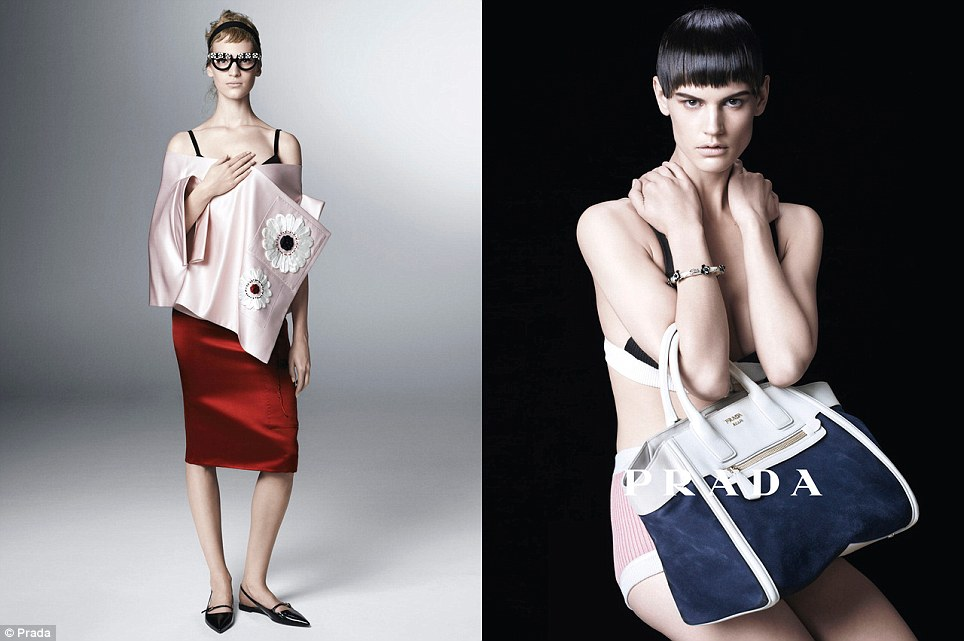 Model behaviour: Female models including Eva Herzigova, Eva Herzigova, Sasha Pivovarova, Amber Valletta, Vanessa Axente, Saskia de Brauw, Irina Kravchenko and Sung Hee are used in Prada's new campaign