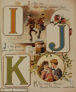 The letter G stands for games and shows children playing Blind Man's Buff, a popular parlour game at the time