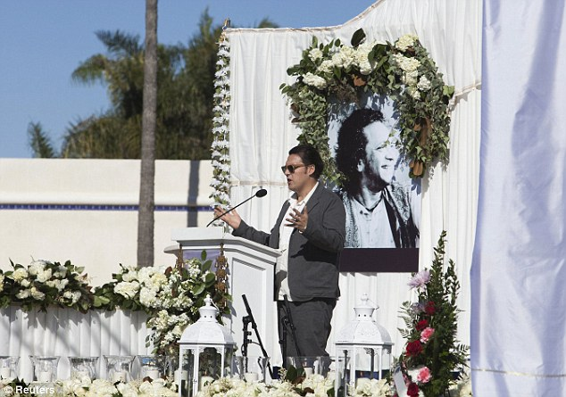 Remembrance: Son-in-law Joe Wright speaks during the service