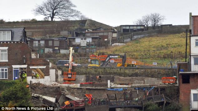 A row of houses in Whitby had to be pulled down after a landslide last month