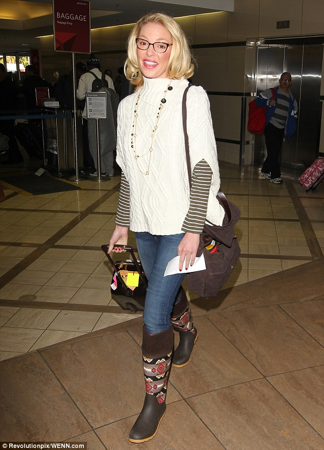 Jetting off: Katherine Heigl was seen at Los Angeles airport with her mum, Nancy