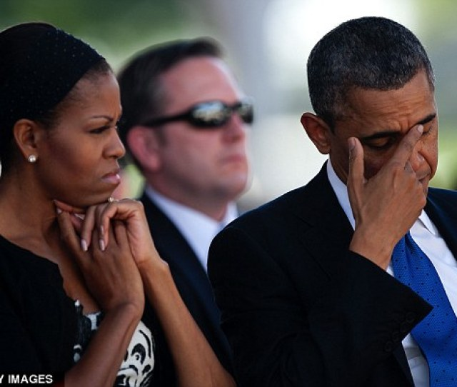 Tearful President Obama Appeared Emotional As He Sat Next To First Lady Michelle Obama At