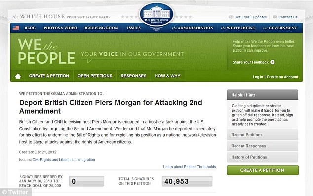 Outrage: A petition on an official White House website demanding Piers Morgan's deportation had garnered more than 40,000 signatures by Monday afternoon