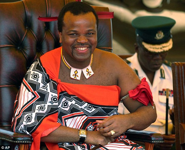 Absolute power: Swaziland's King Mswati III has been criticised by his people for his lavish lifestyle in the otherwise impoverished nation