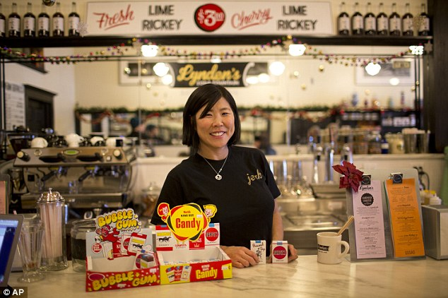 Holy smoke: Co-owner of Lynden's Soda Fountain, Tobi Lynden, was busted for selling candy cigarettes earlier this month