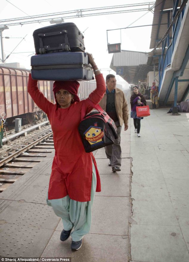 Maya, 40,is the only female porter in her city
