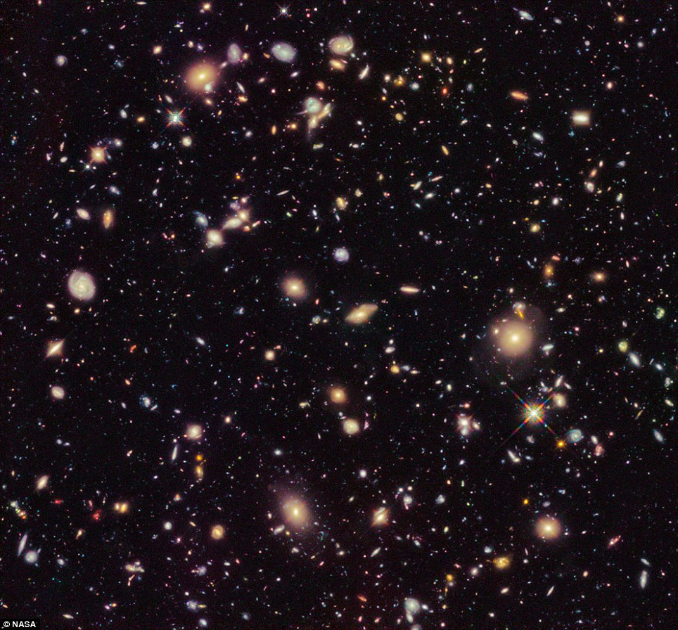 Old: This image provided by NASA and taken by the Hubble Space Telescope shows previously unseen early galaxies including the oldest one at 13.3 billion years old